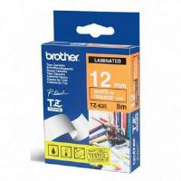 Brother P-touch TZ-635 (12mm x 8m) White On Orange Gloss Laminated Labelling Tape