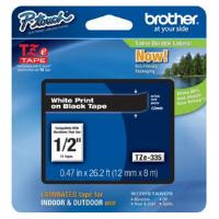 Brother P-touch TZe-335 (12mm x 8m) White On Black Laminated Labelling Tape