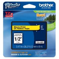 Brother P-touch TZe-631 (12mm x 8m) Black On Yellow Laminated Labelling Tape