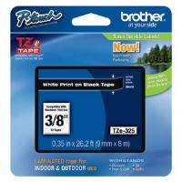 Brother P-touch TZe-325 (9mm x 8m) White On Black Laminated Labelling Tape
