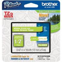 Brother P-touch TZe-MQG35 (12mm x 5m) White On Lime Green Matt Laminated Labelling Tape