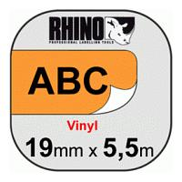 Dymo (19mm) Vinyl Tape (Black on Orange) for Dymo Rhino 1000, 3000, 4200, 5000, 5200, 6000 and ILP-219 Label Printers