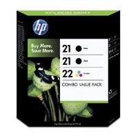 HP Tri-Combo Pack containing 2 x HP 21 Black Inkjet Print Cartridge + 1 x HP 22 Tri-Colour InkJet Print Cartridge